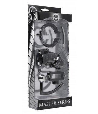 Master Series Oppressor Male Confinement Chastity Cage with Ball Clamp and Anal Hook