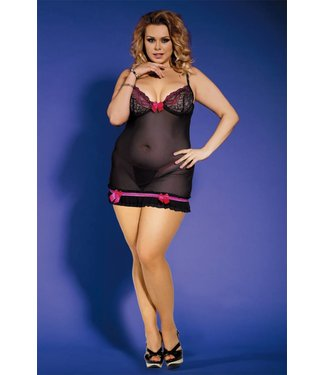Sunspice Babydoll Black & Pink & G-string (L/XL)