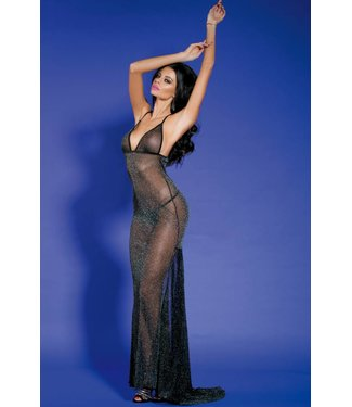 Sunspice Shinny See-through Long Dress & G-string