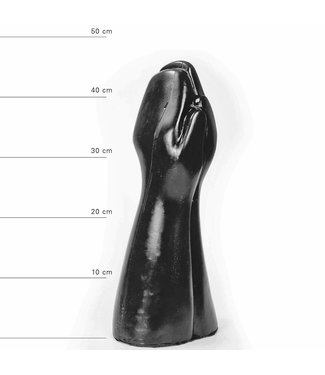 All Black Giant dubbele Fisting Dildo 32 x 16,5cm