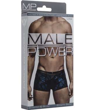 Male Power Strappy Short - L (Blue/Black)