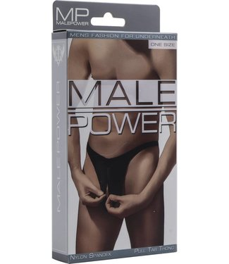 Male Power Pull Tab Thong - One Size (Black)