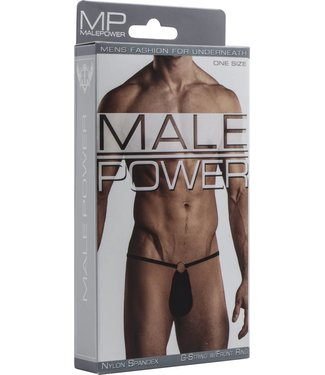 Male Power G-String with Front Ring - One Size (Black)