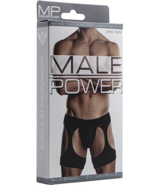 Male Power Short chaps with G-String - One Size (Black)