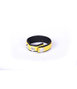 Kiotos Leather Rainbow Leather Cock Strap - Black & Yellow