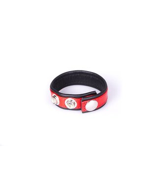 Kiotos Leather Rainbow Leather Cock Strap - Black & Red