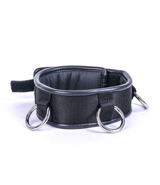 Kiotos Leather Halsband Drievoudige Ring - Zwart