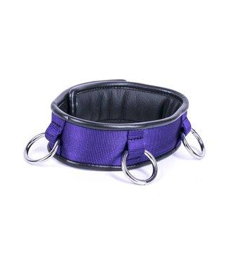 Kiotos Leather Collar Triple Ring - Purple