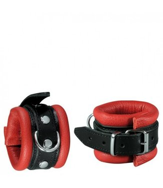 Kiotos Leather Handcuffs 5 cm - Red