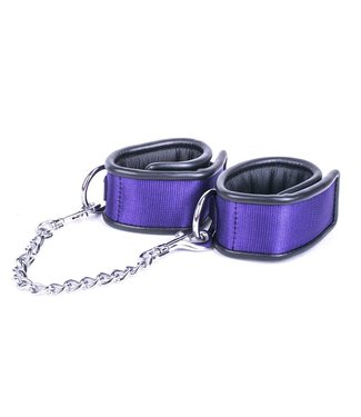 Kiotos Leather Handcuffs with Metal Connector Chain - Purple