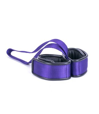 Kiotos Leather Handcuffs Double with Handle - Purple