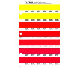Pantone PMS Solid Chips vervangingspagina op coated papier 1.1C, kleurnummers Yellow C - Yellow 012C - Orange 021C - Bright Red C - Warm Red C - Red 032C - Rubine Red C