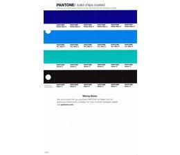 Pantone PMS Solid Chips vervangingspagina op coated papier 1.3C, kleurnummers Reflex Blue C - Pro.Blue C - Green C -Black C