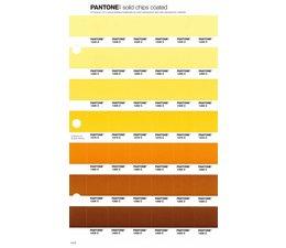 Pantone PMS Solid Chips vervangingspagina op coated papier 14C, kleurnummers 1345C - 1355C - 1365C - 1375C - 1385C - 1395C - 1405C
