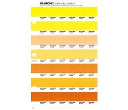 Pantone PMS Solid Chips vervangingspagina op coated papier 16C, kleurnummers 7408C - 7409C - 7410C - 7411C - 7412C - 7413C - 7414C