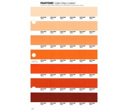 Pantone PMS Solid Chips vervangingspagina op coated papier 26C, kleurnummers 162C - 163C - 164C - 165C - 166C - 167C - 168C