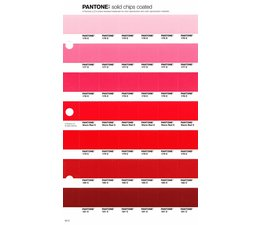 Pantone PMS Solid Chips vervangingspagina op coated papier 40C, kleurnummers 176C - 177C - 178C - Warm Red C - 179C - 180C - 181C