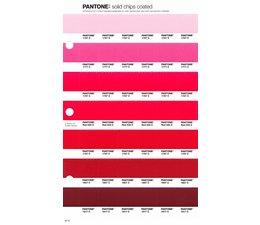 Pantone PMS Solid Chips vervangingspagina op coated papier 42C, kleurnummers 1767C - 1777C - 1787C - Red 032C - 1797C - 1807C - 1817C
