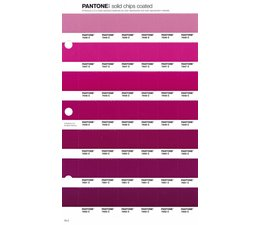 Pantone PMS Solid Chips vervangingspagina op coated papier 76C, kleurnummers 7646C - 7647C - 7648C - 7649C - 7650C - 7651C - 7652C