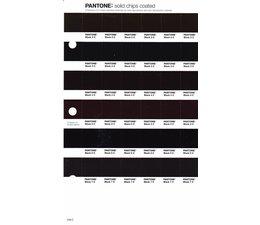 Pantone PMS Solid Chips vervangingspagina op coated papier 249C, kleurnummers Black 2C - Black 3C - Black 4C - Black 5C - Black 6C - Black 7C