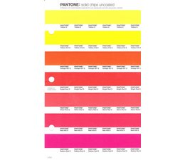 Pantone PMS Solid Chips vervangingspagina op uncoated papier 1.1U, kleurnummers Yellow U - Yellow 012U - Orange 021U - Bright Red U - Warm Red U - Red 032U - Rubine Red U