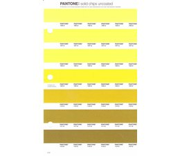 Pantone PMS Solid Chips vervangingspagina op uncoated papier 5U, kleurnummers 106U - 107U - 108U - 109U - 110U - 111U - 112U