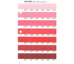 Pantone PMS Solid Chips vervangingspagina op uncoated papier 40U, kleurnummers 176U - 177U - 178U - Warm Red U - 179U - 180U - 181U