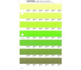 Pantone PMS Solid Chips vervangingspagina op uncoated papier 198U, kleurnummers 372U - 373U - 374U - 375U - 376U - 377U - 378U