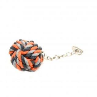 Knoop katoen speelbal met ketting Oranje 23cm