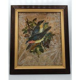 Vogel Schilderij op tabaksbladeren (B)