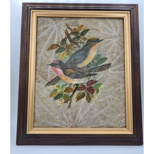 Vogel Schilderij op tabaksbladeren (G)