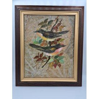 Vogel Schilderij op tabaksbladeren (H)