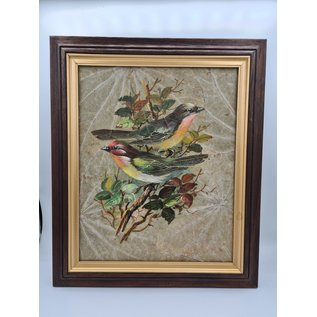 Vogel Schilderij op tabaksbladeren (i)