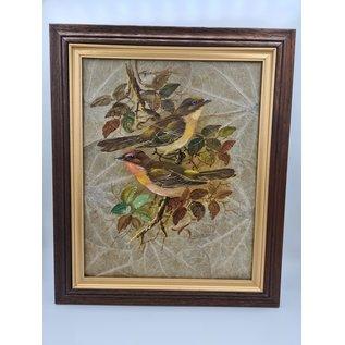 Vogel Schilderij op tabaksbladeren (J)