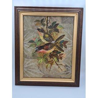 Vogel Schilderij op tabaksbladeren (K)