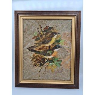 Vogel Schilderij op tabaksbladeren (L)