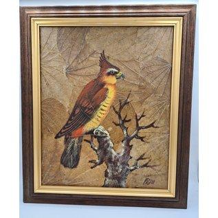 Vogel Schilderij op tabaksbladeren (M)