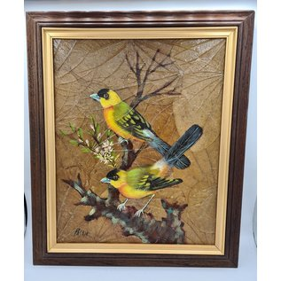 Vogel Schilderij op tabaksbladeren (V)