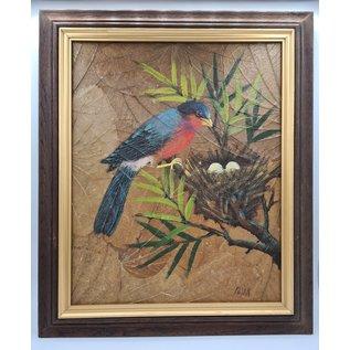 Vogel Schilderij op tabaksbladeren (W)