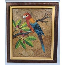 Copy of Vogel Schilderij op tabaksbladeren (W)