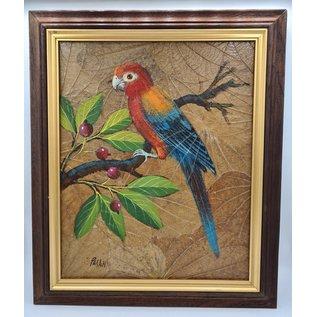 Vogel Schilderij op tabaksbladeren (X)