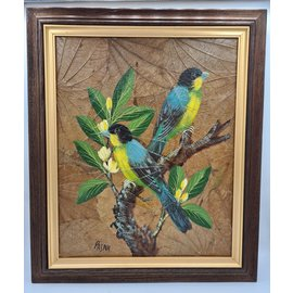 Vogel Schilderij op tabaksbladeren (Y)