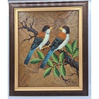 Vogel Schilderij op tabaksbladeren (Z)