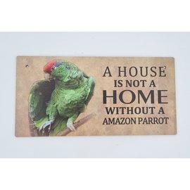 Hout Decoratie Bordje Amazone papegaai