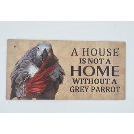 Hout Decoratie Bordje Grijze Roodstaart papegaai