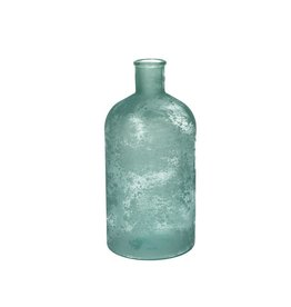 Vase Recycled Glass Blue 14x28cm