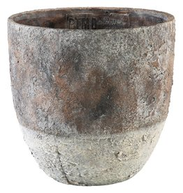 PTMD PTMD Tytoe Grey Cement Pot Leaves Round XXL