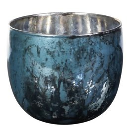 PTMD PTMD Dani Turquoise Glass Vase Round S