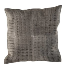 PTMD PTMD Bohem Grey Leather Cushion Square S