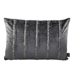 PTMD PTMD Velvet Glitter Blue Cushion With Fill Rectangle